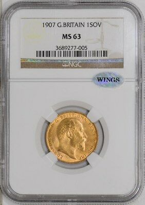 1907 Great Britain Gold Sovereign  MS63 NGC ~ WINGS