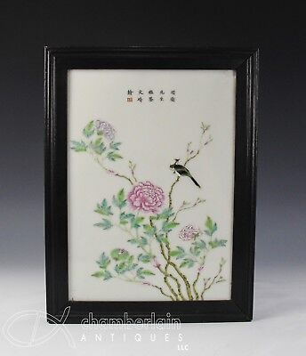 Old Chinese Porcelain Hand Painted Porcelain Tile Plaque With Bird + Flowers