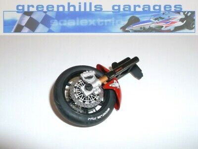Greenhills Scalextric Moto GP Ducati No.65 Front Wheel & Forks, Tyre & Mudgua...