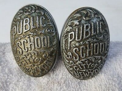 PAIR Antique New York City Public School Door Knob Set, NYC, nickel plated