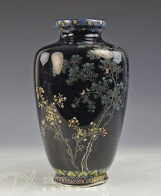 Very High Quality Antique Japanese Cloisonne Vase With Silver