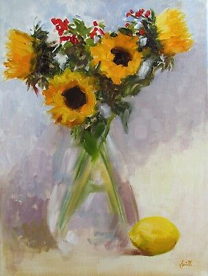 Sunflowers & a Lemon; Original impressionist Oil Painting on linen 16x12 inches.
