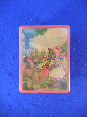 """Vintage plastic music box with bears on top 3 by 4"""" date 1980"""