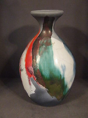 Hand Crafted Grey Clay Multi Color Glazed Vase Artist Signed