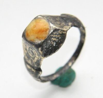 Ancient Medieval Bronze Finger Ring With Amber Inlay (SEP10)