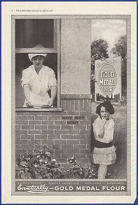 Vintage 1916 GOLD MEDAL FLOUR Girl Stealing Pie Kitchen Art Decor Print Ad