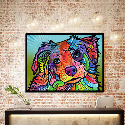 Unframed Modern Abstract Oil Painting Colorful Dog Huge Home Decor Art On Canvas