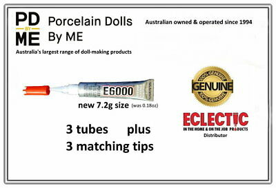 3 x tubes (with tips)  of E-6000Jewellery & Craft Glue 5.32ml / .18Fl.OZ