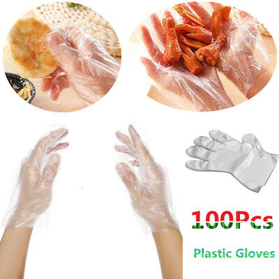 100pcs Disposable Plastic Clear Polythene PE Gloves Food Safe Cleaning Glove J