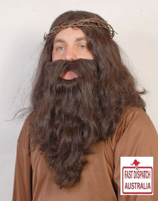 Jesus wig & beard with CROWN of THORNS.....cheap..and free freight in OZ.....