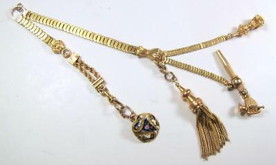 Victorian Art Nouveau 14K Yellow Gold Vest Watch Chain w 4 Fobs Fist & Enamel