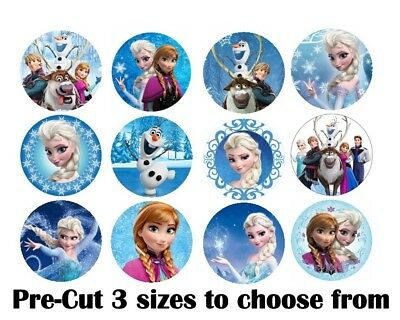 Frozen Edible Icing Cupcake Toppers PRE-CUT 12 or 24
