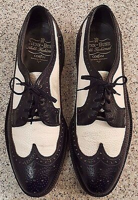 VTG Nunn-Bush Black/White Spectator Brogue Wingtip Corfam Sz 9C MADE IN USA-VGC!