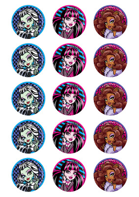 Monster High Edible Cupcake Images - 15 Pc