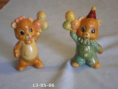Vintage Salt Pepper Set Porcelain Bear Boy Girl In Party Clothes With Balloons