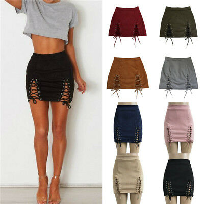 Sexy Women's High Waist Lace Up Suede  Pencil Bandage Mini Pencil  Short Skirts