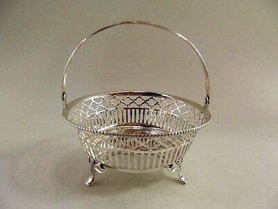 Antique Silver Basket With Swing Handle Birmingham 1911 Ref 28/4