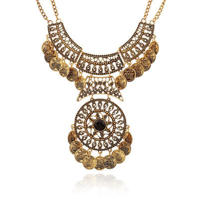Fashion Women Bohemian Festival Jewelry Double Chain Coin Statement Necklace CS