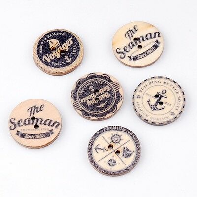 Pack of 5 Vintage Nautical Decorative Wooden Buttons 20mm - Scrapbooking/Sewing