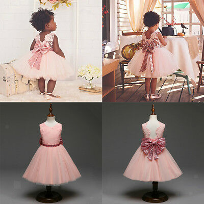 Baby Girls Sequin Mesh Bowknot Floral Ball Gown Party Dress Tulle Prom Dresses