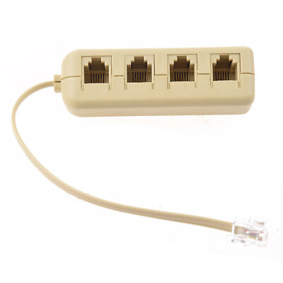 RJ11 6P4C to 6P4C 4 Way Telephone Line Modular Splitter Adapter Beige CS