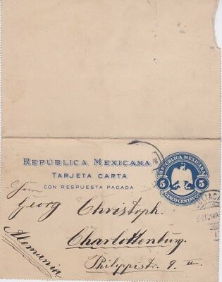 Mexico-1912 5 c blue PS letter card Culiacan cover to Germany