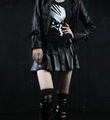 Punk Rave Q-166 Ladies Gothic Pleated Mini Leather Skirt Rock Goth Visual Kei