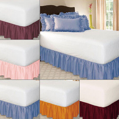 Elastic Bed Skirt Solid Color Hollow Ruffle Bed Cover Twin Full Queen King Size