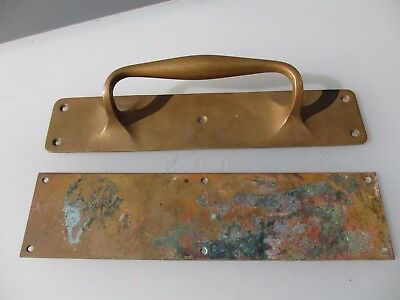 Antique Bronze Door Handle Set Shop Pull Finger Plate Vintage Edwardian Deco 12""