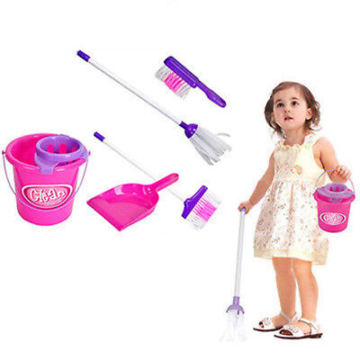 CO_ 5Pcs Kids Play House Cleaning Mop Broom Bucket Brush Set Pretend Toy Unique