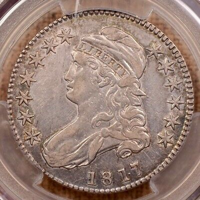 1817 O.103 Punct Date Bust half, PCGS VF35, lustrous lt gold  DavidKahnRareCoins