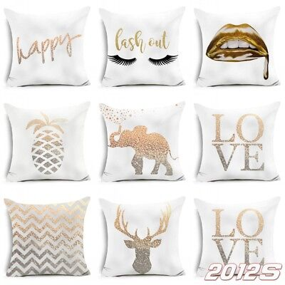 Gold Shining Printed Polyester Throw Pillow Case Sofa Cushion Cover Home Decor V