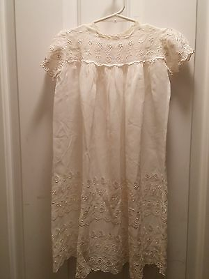Vintage Country Ivory Sheer Creme Baby Baptism Gown Outfit Photos