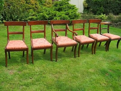 Set of 5 Regency Mahogany Bar Back Dining Chairs with Sabre Legs + 1 Rope Back