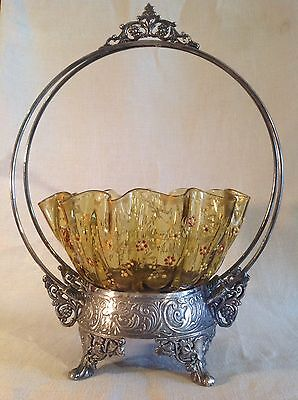 Victorian Bridal Basket, Quadruple Silverplate With Amber Enamel Painted Bowl
