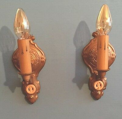 2 Art Deco Electric Candle Wall Sconces Pair Beautiful Vintage Wired 6E