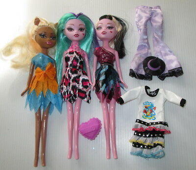 Monster High Dolls Fangs Ears With Clothes Doll x 3