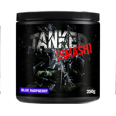 Tanked Smash Pre Workout Powder Nitric Oxide Muscle Pump 50 Servings Blue Razz
