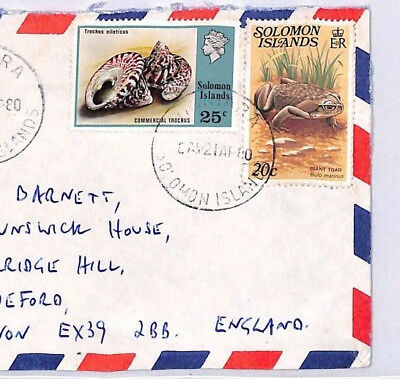 XX220 1980 SOLOMON ISLANDS Honiara Commercial Airmail Cover England SHELLS FROGS