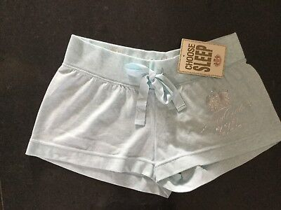 NWT Juicy Couture New & Gen. Ladies Small Pale Blue Cotton Sleep Shorts & Logo