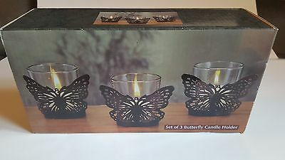 NEW OLD STOCK Set of 3 Butterfly Candle Holders