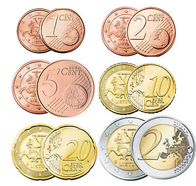 Lithuania 2015, 2016, 2017 COINS 1, 2, 5, 10, 20 cent and 2 euro. UNC FROM ROLLS