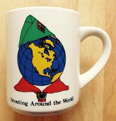 1970s 1980s SCOUTING AROUND THE WORLD COFFEE MUG, BOY SCOUTS, BSA