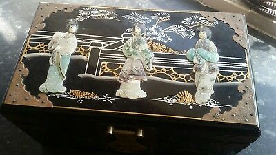 Chinease Lacquered jewelry box with raised Geisha Girl figures