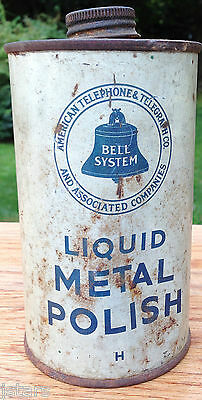 1940s - 1950s BELL SYSTEM TELEPHONE BOOTH METAL POLISH CAN, AT&T, VINTAGE
