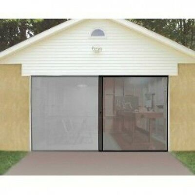 1 Car Single Garage Door Screen 7' x 8' Bug Insect Pest Black TV Easy Entry NEW