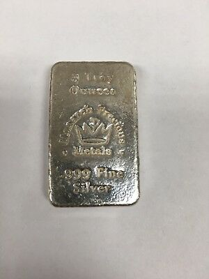 Hand Poured Monarch Precious Metals, Big 3 Troy Ounce  .999 Fine Silver Bar