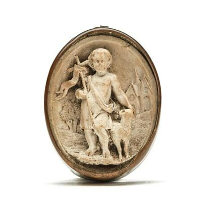 Antique Framed Carved Plaster Figure With Sheep 19Th C.