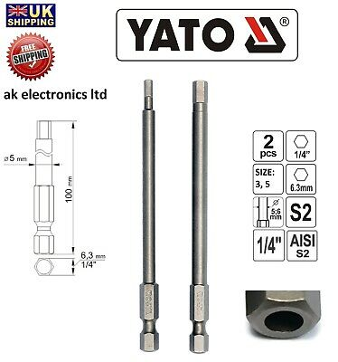"Yato 1/4""Screwdriver Hex Pin Security Hole Tamper Proof Bit Set 3,5 100mm Long"