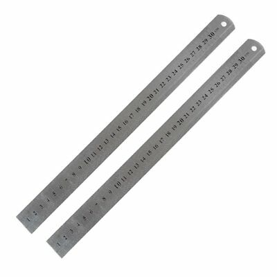 2 pcs 30cm StaInless Steel Straight Ruler MeasuRing Tool H9W4